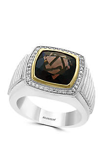 Effy® Mens 6.45 ct. t.w. Smoky Quartz and 1/3 ct. t.w. Diamond Ring in 925 Sterling Silver/Gold Plated