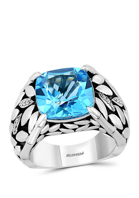 .05 ct. t.w. Diamond, Blue Topaz Ring in Sterling Silver/18K Yellow Gold