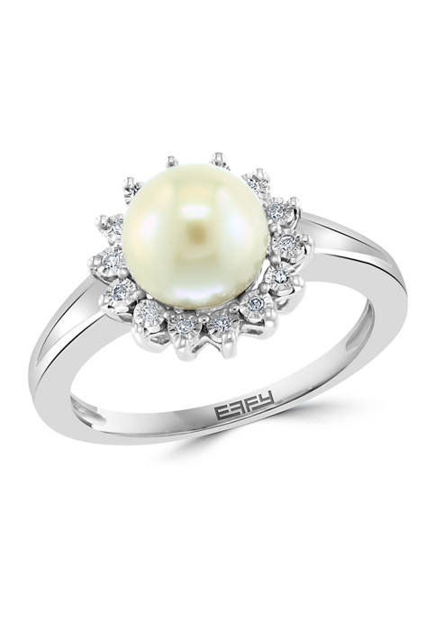 Effy® 1/10 ct. t.w. Diamond and Freshwater Pearl