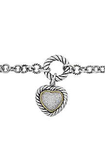 Sterling Silver And 18k Yellow Gold Heart Dangle Toggle Bracelet