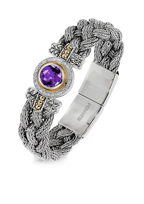 Effy® 925 Sterling Silver/18k Yellow Gold Diamond Amethyst