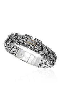 0.07 ct. t.w. Diamond Large Braid Bracelet in Sterling Silver & 18K Yellow Gold