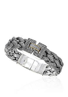 Effy® 0.07 ct. t.w. Diamond Large Braid Bracelet in Sterling Silver & 18K Yellow Gold