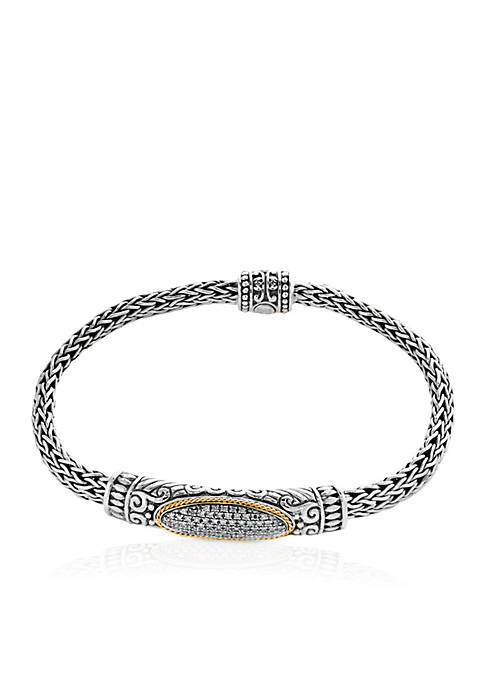 Sterling Silver and 18K Yellow Gold Diamond Statement Bracelet