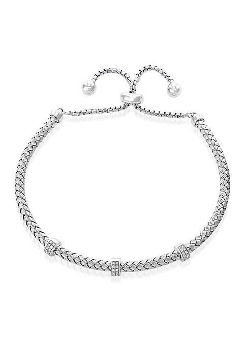 0.15 ct. t.w. Diamond Bolo Chain Bracelet in Sterling Silver