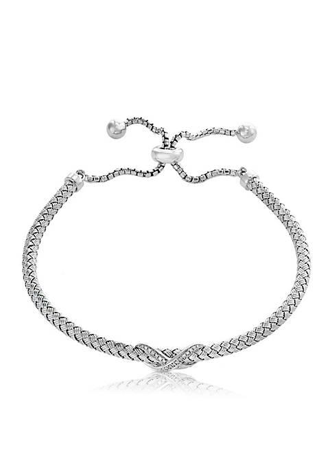 "Effy® Sterling Silver Diamond ""X"" Bolo Cuff Bracelet"