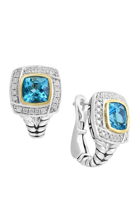 1/6 ct. t.w. Diamond and 2.5 ct. t.w. Blue Topaz Earrings in 18K Yellow Gold and Sterling Silver