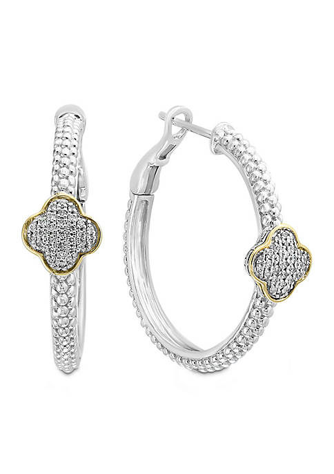 Effy® Sterling Silver/18k Yellow Gold Diamond Quatrefoil Shaped