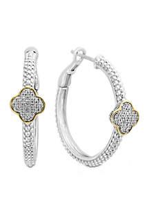 Sterling Silver/18k Yellow Gold Diamond Quatrefoil Shaped Hoop Earrings