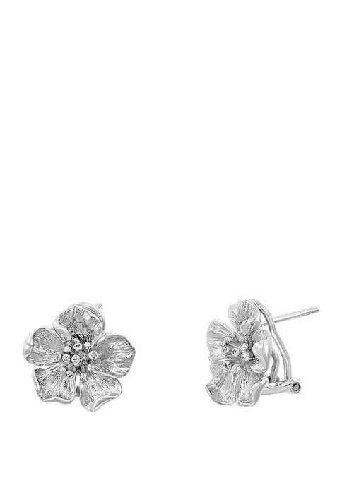 1/10 ct. t.w. Diamond Flower Earrings in Sterling Silver