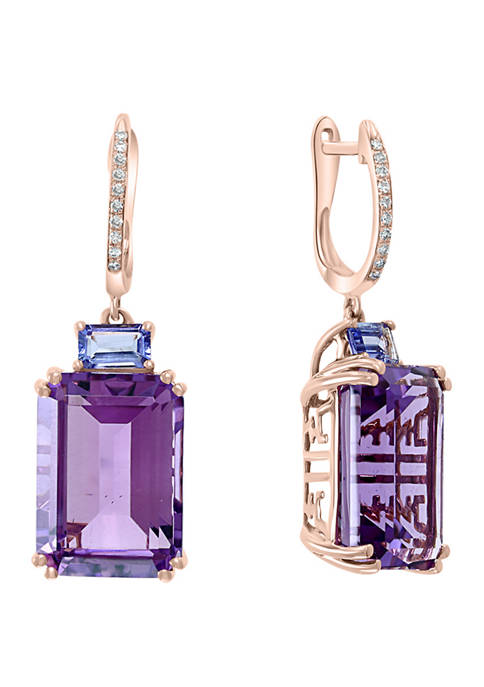 1/10 ct. t.w. Diamond and 15.65 ct. t.w. Amethyst and Tanzanite Earrings in 14K Rose Gold