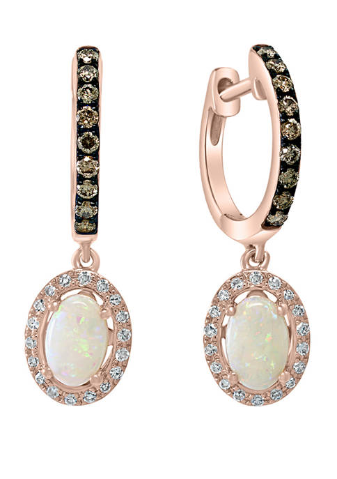 1/3 ct. t.w. White and Brown Diamond and 1/2 ct. t.w. Opal Earrings in 14K Rose Gold