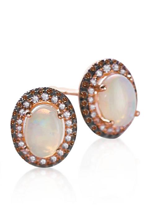 Opal & Diamond Earrings in 14K Rose Gold