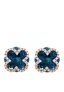 1/5 ct. t.w. Diamond and 8.5 ct. t.w. London Blue Topaz Earrings in 14k Rose Gold