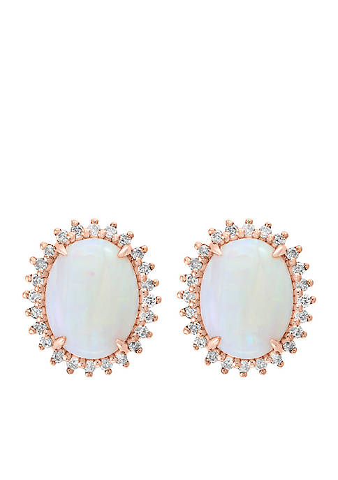 Effy® 14K Rose Gold Diamond Opal Earrings