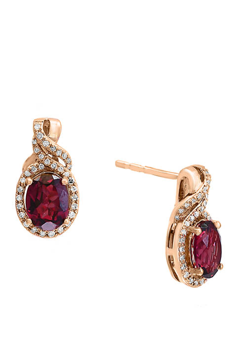 1/4 ct. t.w. Diamond and 3.1 ct. t.w. Rhodolite Earrings in 14K Rose Gold