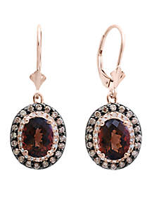 Effy® 14kt White/Espresso Diamond Smoky Quartz Earrings
