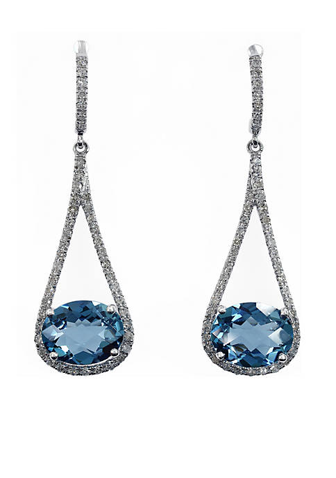 Effy® 14k White Gold Diamond And Blue Topaz