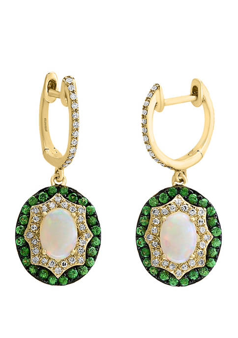 1/3 ct. t.w. Diamond and 1.55 ct. t.w. Opal and Tsavorite Earrings in 14K Yellow Gold
