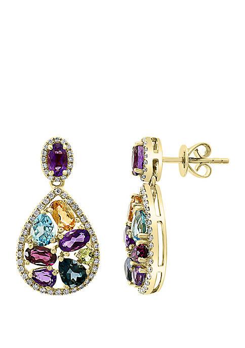 8.0 ct. t.w. Diamond, 4.3 ct. t.w. Amethyst, Blue Topaz, London Blue, Citrine, Rhodolite, and Peridot Earrings in 14k Yellow Gold