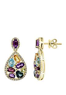 Effy® 8.0 ct. t.w. Diamond, 4.3 ct. t.w. Amethyst, Blue Topaz, London Blue, Citrine, Rhodolite, and Peridot Earrings in 14k Yellow Gold