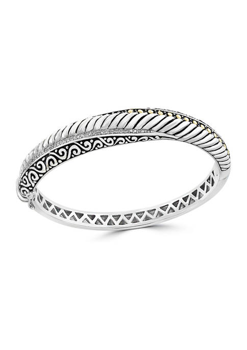 1/5 ct. t.w. Diamond Bangle in Sterling Silver Plated 18K Yellow Gold