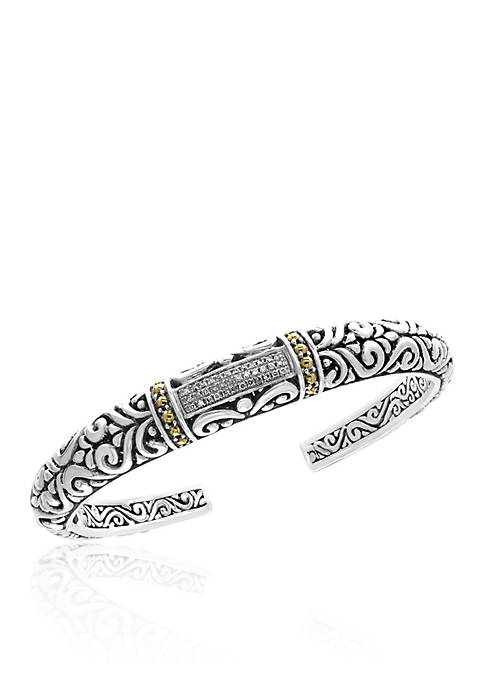 Diamond Bangle in Sterling Silver & 18K Yellow Gold