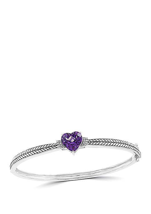 1/10 ct. t.w. Diamond and 3.2 ct. t.w. Amethyst Bangle Bracelet in 925 Sterling Silver