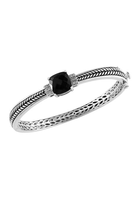 4.2 ct. t.w. Black Onyx and 1/10 ct. t.w. Diamond Bracelet in Sterling Silver