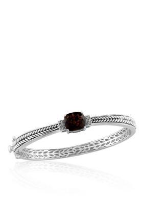 Effy Women Square Smoky Quartz & Diamond Bangle In Sterling Silver - Gray - 7