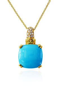 Cushion Cut Turquoise & Diamond Pendant in 14K yellow Gold