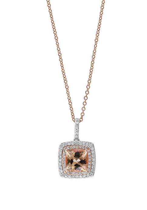 1/4 ct. t.w. Diamond and 1.4 ct. t.w. Morganite Pendant Necklace in 14K Two Tone Gold
