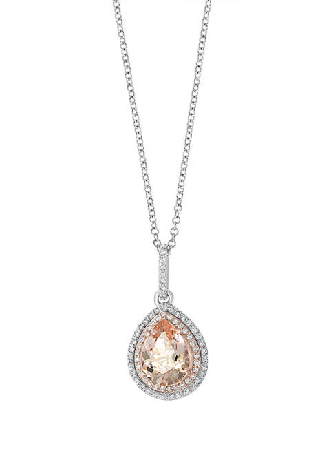 1/4 ct. t.w. Diamond and 1.55 ct. t.w. Morganite Pendant Necklace in 14K Two Tone Gold