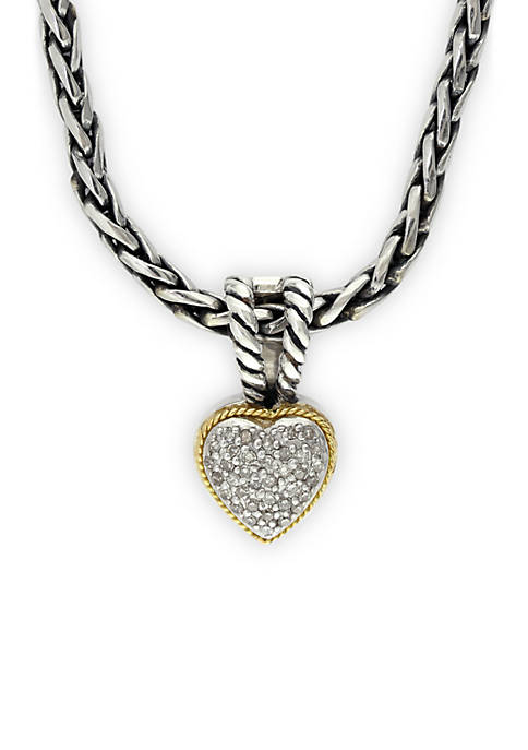 Effy® Sterling Silver 18K Diamond Pendant Heart Necklace