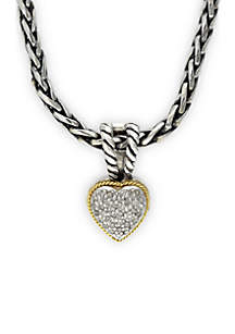 Sterling Silver 18K Diamond Pendant Heart Necklace