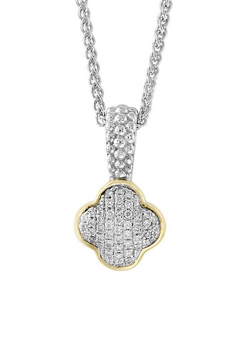 Effy® Sterling Silver /18k Yellow Gold Diamond Quatrefoil