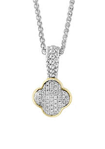 Sterling Silver /18k Yellow Gold Diamond Quatrefoil Shaped Pendant Necklace