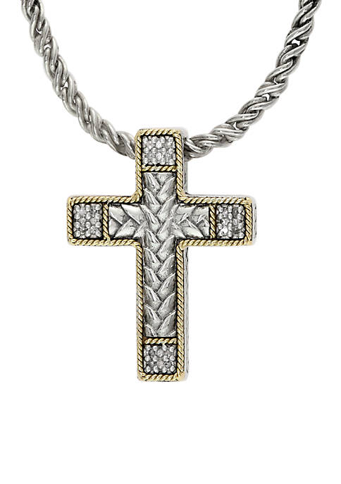 Effy® Sterling Silver 18K Yellow Gold Diamond Cross