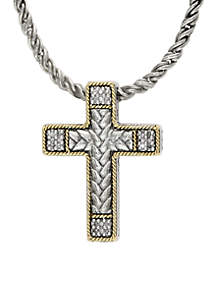 Sterling Silver 18K Yellow Gold Diamond Cross Pendant Necklace