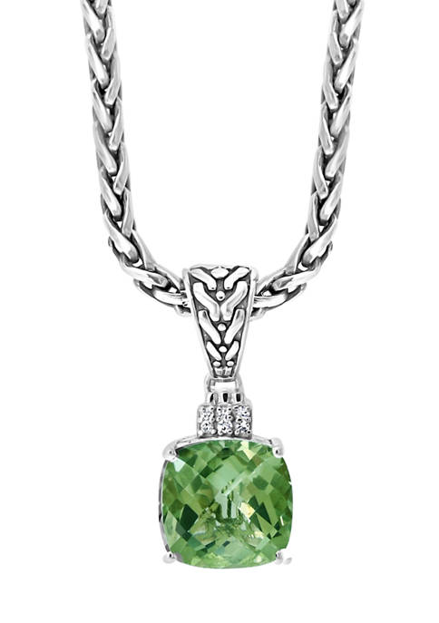 Sterling Silver 1/10 ct. t.w. Diamond and 4 ct. t.w. Green Amethyst Pendant