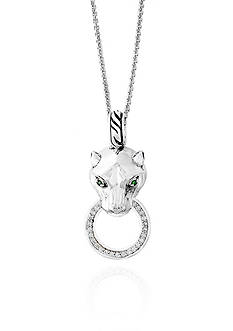 Effy® 0.15 ct. t.w. Diamond and Tsavorite Signature Panther Pendant Necklace in Sterling Silver