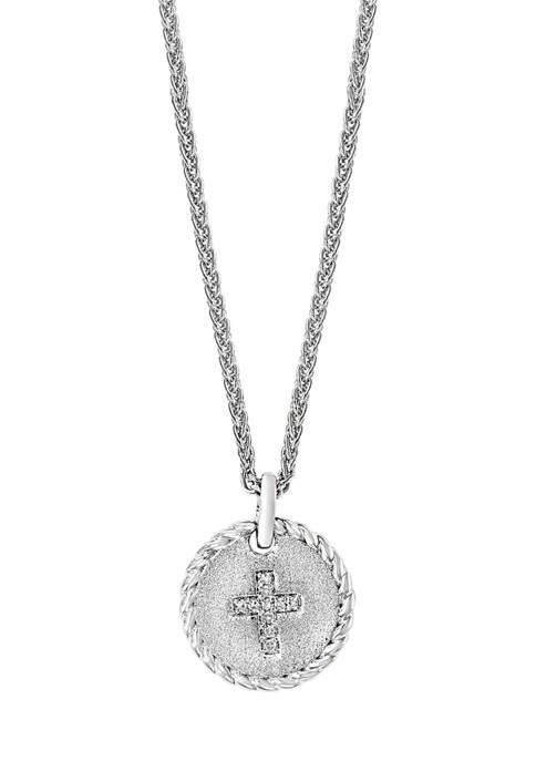 Effy® 1/10 ct. t.w. Diamond Cross Pendant Necklace