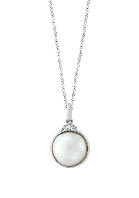 Mabe Pearl and 1/10 ct. t.w. Diamond Pendant Necklace in Sterling Silver