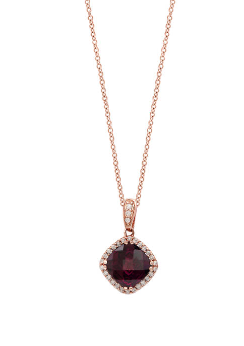 1/8 ct. t.w. Diamond and 2.7 ct. t.w. Rhodolite Pendant Necklace in 14K Rose Gold
