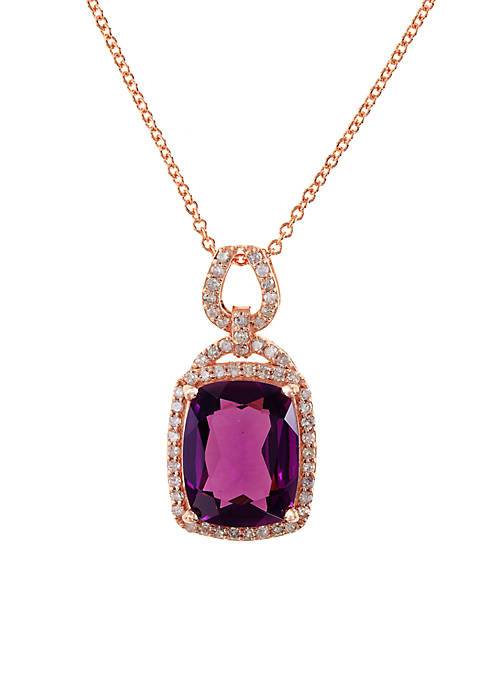 Effy® 14k Rose Gold Diamond Rhodolite Pendant Necklace