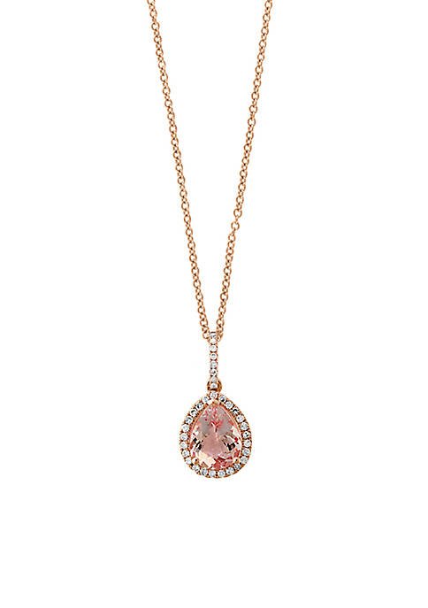 Effy® 14K Rose-Gold Diamond Morganite Pendant Necklace