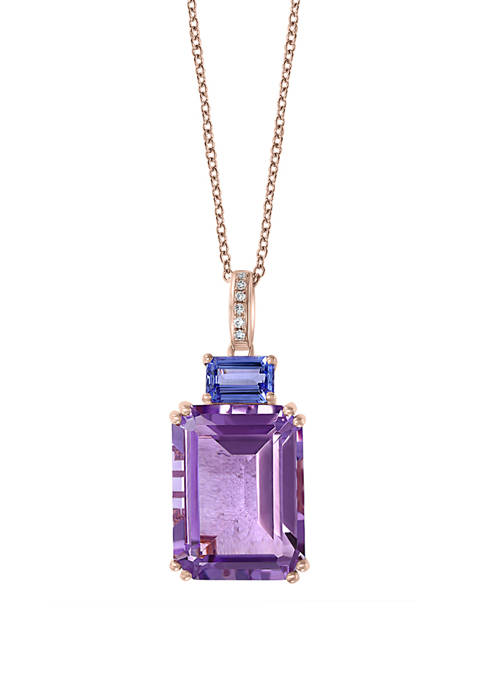 1/10 ct. t.w. Diamond and 12.9 ct. t.w. Amethyst and Tanzanite Pendant in 14K Rose Gold