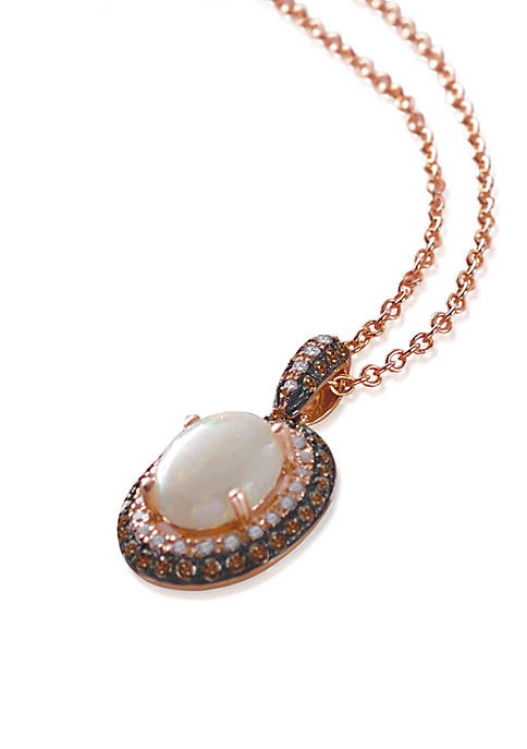Opal & Diamond Pendant Necklace in 14K Rose Gold