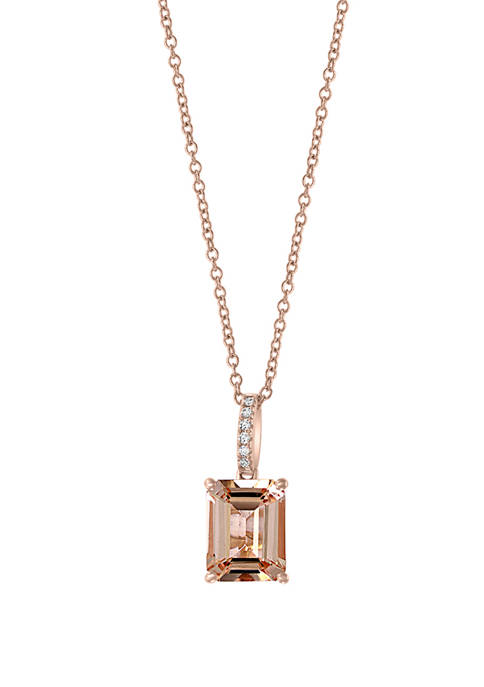 1/10 ct. t.w. Diamond and 2.45 ct. t.w. Morganite Pendant Necklace in 14K Rose Gold