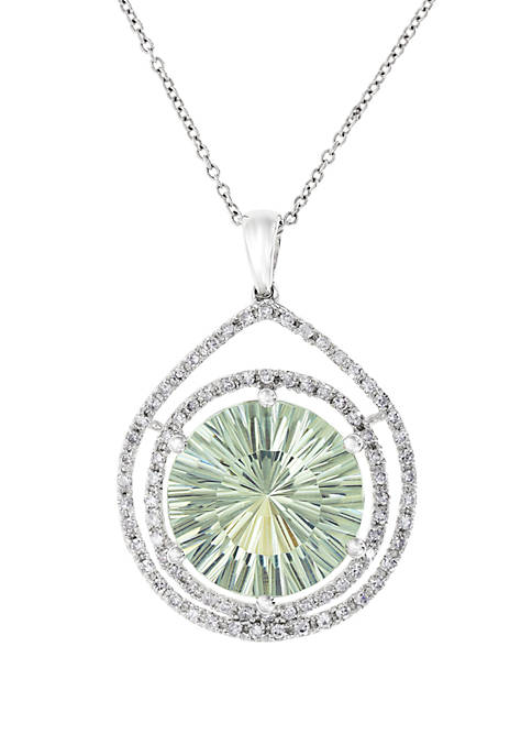 Green Amethyst with Diamond Halo Pendant Necklace in 14k White Gold